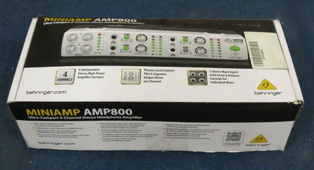 Behringer Miniamp AMP800 (240V) Headphone Amplifier 4-Channel Stereo Input